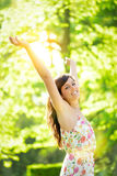 Successful woman on sunny spring park Stock Photo