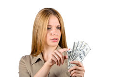 A successful woman surprised in cash Stock Photos