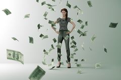 Money rain on successful woman royalty free illustration