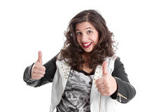 Successful woman with thumb up Stock Image