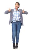 Successful woman with thumbs up gesture Royalty Free Stock Photography