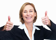 Successful woman with a thumbs up sign isolated Stock Photo