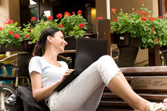 Successful woman working freelance Royalty Free Stock Image