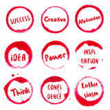Successful Words collection of round watercolor. Successful Words collection of round watercolor stains with success, idea, creative, motivation, power, think Stock Photography