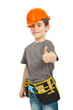 Successful Worker Boy Giving Thumbs Royalty Free Stock Images