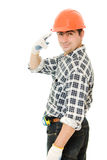 Successful worker in a helmet Stock Image