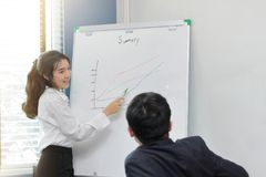 Successful young Asian business woman with white board presentation during meeting in conference room in office. Successful young Asian business women with stock image