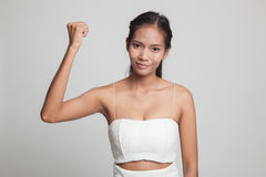 Successful  young Asian woman hold fist up. Stock Image