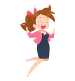 Successful young attractive laughing woman jumping up Royalty Free Stock Image