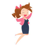 Successful young attractive laughing woman jumping up Royalty Free Stock Images