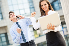 Successful Young Business Couple Stock Images