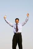 Successful young business man. Young business man celebrating success Stock Photos