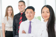 Successful young business man and business team Royalty Free Stock Photo