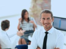 Successful young business men on blurred background Stock Images