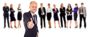 Successful young business team. Thumbs up for the successful young business team stock images