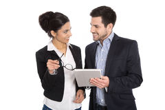 Successful young business team. Man and woman isolated over whit Royalty Free Stock Images