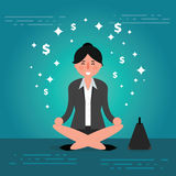 Successful young business woman or broker meditating or relaxing Royalty Free Stock Image