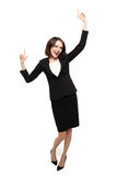 Successful young business woman happy for her success. Royalty Free Stock Photos