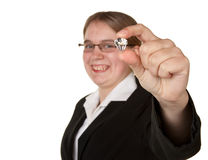 Successful young business woman holding diamond Stock Image