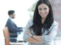 Successful young business woman on the office background Stock Photo