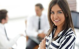 Successful young business woman. Portrait of a successful young business woman.photo with copy space royalty free stock images