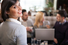 Successful young business woman at the restaurant Royalty Free Stock Photo