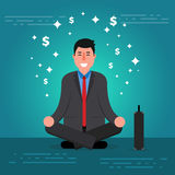 Successful young businessman or broker meditating  Stock Photo