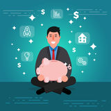 Successful young businessman or broker meditating or relaxing wi. Th his legs crossed and holding piggy bank. Cartoon vector illustration of manager or boss as Royalty Free Stock Image