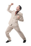 Successful young businessman cheering Stock Photos