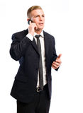 Successful young businessman on his cellphone. Stock Image