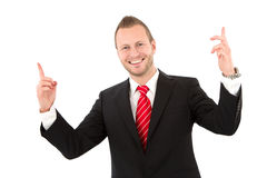 Successful young businessman - man isolated on white background Royalty Free Stock Images