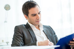 Successful  young businessman reading a report Royalty Free Stock Images