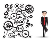Successful Young Businessman in Suit with Cogs. Gears. Vector Manager Cartoon Isolated on White Background Royalty Free Illustration