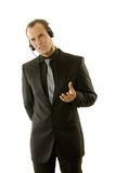 Successful young businessman wearing headphones Royalty Free Stock Image