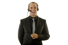 Successful young businessman wearing headphones Stock Image