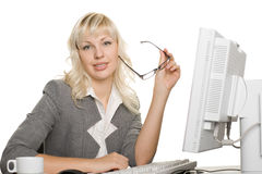 Successful young businesswoman with computer Stock Photography