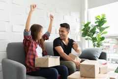 Successful of Young couple with their small business online. stock image