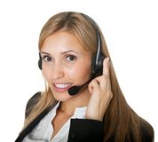 Successful young female call center executive Royalty Free Stock Images