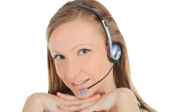 Successful young female call centre employee weari Stock Photos
