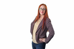 Successful young redhead business woman with glass Stock Images