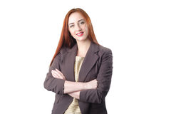 Successful young redhead business woman Stock Images