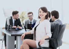 Successful young woman accountant in the workplace and the busin Stock Image