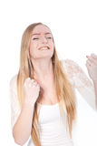 Successful Young Woman in Closed Fists Gesture Stock Photo