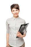 Successful young woman with a folder Royalty Free Stock Photo