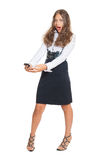 Successful young woman. Young girl in business outfit with mobile phone Stock Photos