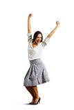 Successful young woman raising hands up Stock Images