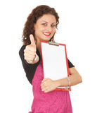 Successful young woman with thumb up Stock Photo