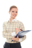 Successful young woman writes something marker Royalty Free Stock Photo