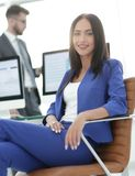 Beautiful businesswoman on the background of business people Stock Images