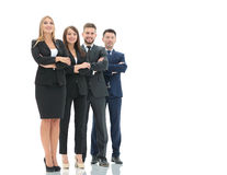 Successfull busines team isolated on white background. Team of successful and confident people posing on a white background. Close up shoot Royalty Free Stock Photography